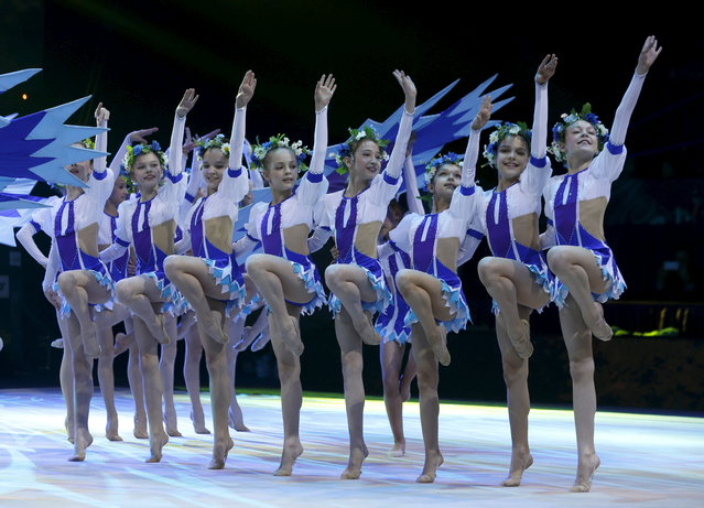 Belarussian children perform during the opening ceremony of the 31st European Rhythmic Gymnastics Championships in Minsk, Belarus, May 1, 2015. (Photo by Vasily Fedosenko/Reuters)