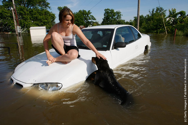 Alexae Dunn pets her dog Lady while sitting on a car surrounded by flood waters near her home June 23, 2008 in South Shore, Missouri