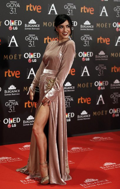 Cristina Brondo poses on the red carpet before the Spanish Film Academy's Goya Awards ceremony in Madrid, Spain, February 4, 2017. (Photo by Juan Medina/Reuters)