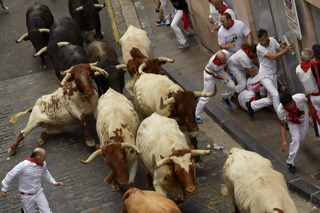 Revellers run next to fighting bulls during the running of the bulls at the San Fermin Festival, in Pamplona, northern Spain, Sunday, July 7, 2019. Revellers from around the world flock to Pamplona every year to take part in the eight days of the running of the bulls. (Photo by Alvaro Barrientos/AP Photo)
