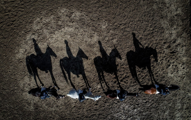 A drone photo shows Canakkale Provincial Gendarmerie Command's Mounted Troops at Gallipoli Peninsula as they provide the security in Canakkale, Turkey on March 15, 2019. (Photo by Sergen Sezgin/Anadolu Agency/Getty Images)