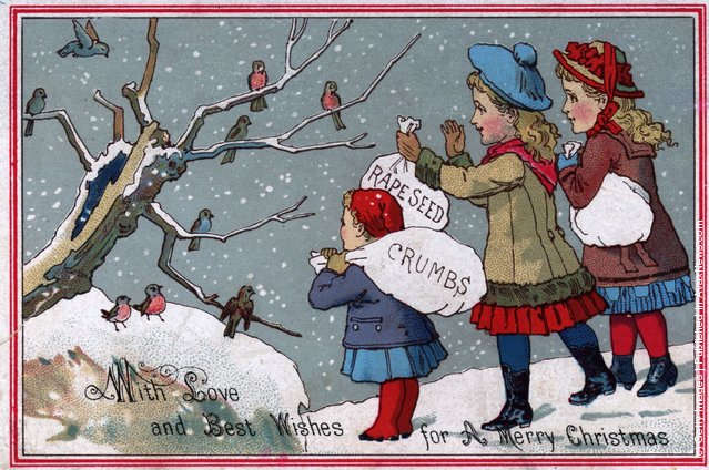 1885: Children feeding the birds in this Victorian Christmas greetings card