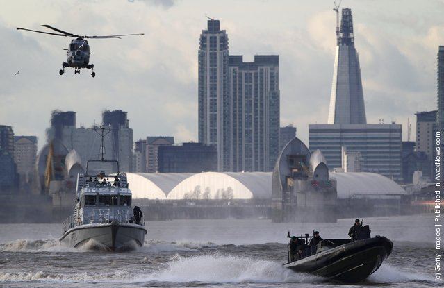 The Metropolitan Police And The Royal Marines Conduct Security Training On The River Thames