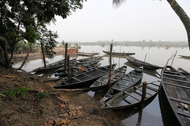 Canoes are seen at a bank of a polluted river along the creeks in the oil producing state of Rivers, Nigeria photo taken January 5, 2017. (Photo by Afolabi Sotunde/Reuters)