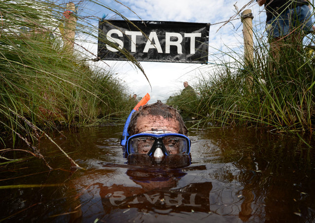 Stephen McDonagh takes part in the Irish Bog Snorkelling championship at Peatlands Park on July 27, 2014 in Dungannon, Northern Ireland. The annual event sees male and female competitors swim the 60m length of the bog watched by scores of spectators and takes place on International Bog Day. (Photo by Charles McQuillan/Getty Images)