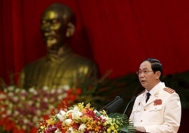Vietnam's Public Security (Police) Minister General Tran Dai Quang speaks during celebrations to commemorate the 70th anniversary of the establishment of the Vietnam Public Security police force at the National Convention Center in Hanoi August 18, 2015. (Photo by Reuters/Kham)