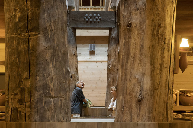 Patrons tour the interior of the Ark Encounter July 5, 2016 in Williamstown, Kentucky. (Photo by Aaron P. Bernstein/Getty Images)