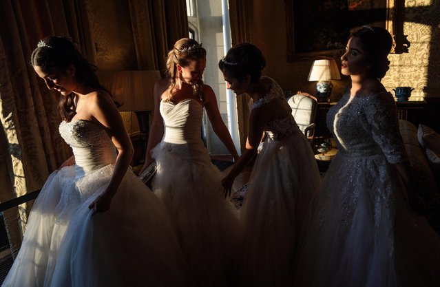 Debutantes adjust their dresses at Leeds Castle during the Queen Charlotte's Ball on September 9, 2017 in Maidstone, England. (Photo by Jack Taylor/Getty Images)
