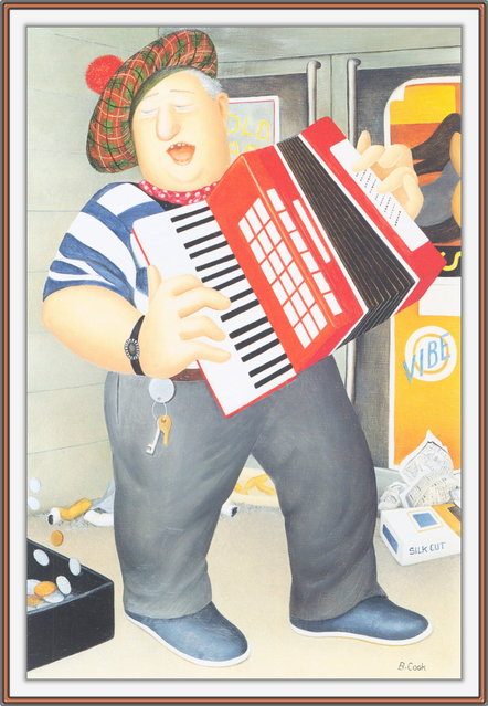 Accordion Player. Artwork by Beryl Cook