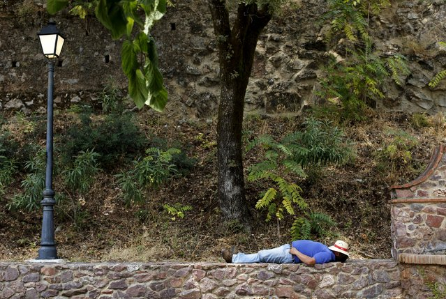 A pilgrim takes a rest as he takes part during the Queen of Angeles pilgrimage in Alajar, southern Spain, September 8, 2015. (Photo by Marcelo del Pozo/Reuters)