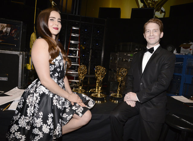 Mae Whitman, left, and Seth Green pose backstage at the Television Academy's Creative Arts Emmy Awards at Microsoft Theater on Saturday, September 12, 2015, in Los Angeles. (Photo by Dan Steinberg/Invision for the Television Academy/AP Images)