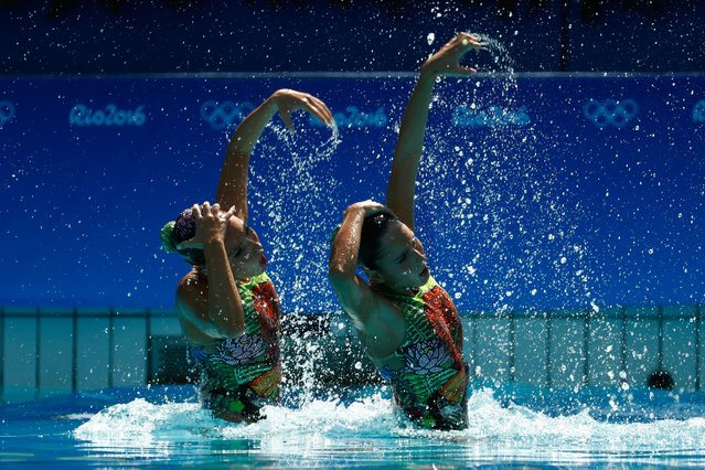 Luisa Borges and Maria Eduarda Micucci of Brazil compete in the Women's Duets Synchronised Swimming Free Routine Preliminary Round on Day 9 of the Rio 2016 Olympic Games at Maria Lenk Aquatics Centre on August 14, 2016 in Rio de Janeiro, Brazil. (Photo by Clive Rose/Getty Images)