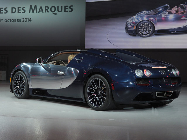 A Bugatti is presented at the Volkswagen Group Night show on October 1, 2014 in Paris  prior to the opening on October 2 of the Paris Auto show 2014 Press days. (Photo by Eric Piermont/AFP Photo)