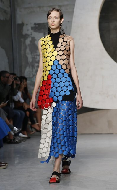 A model wears a creation for Marni women's Spring-Summer 2016 collection, part of the Milan Fashion Week, unveiled in Milan, Italy, Sunday, September 27, 2015. (Photo by Luca Bruno/AP Photo)