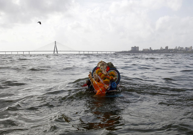 An idol of Hindu God Ganesha, immersed by a devotee, floats on the Arabian Sea on the second day of Ganesh Chaturthi festival in Mumbai, India, Tuesday, September 6, 2016. The ten-day festival is dedicated to the worship of elephant-headed Hindu God Ganesha. (Photo by Rajanish Kakade/AP Photo)