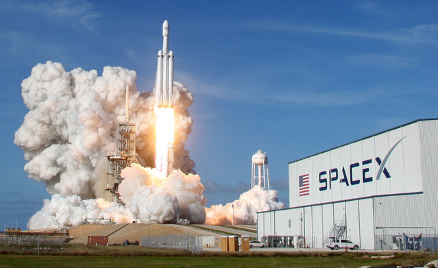 A SpaceX Falcon Heavy rocket lifts off from historic launch pad 39-A at the Kennedy Space Center in Cape Canaveral, Florida, February 6, 2018. (Photo by Thom Baur/Reuters)