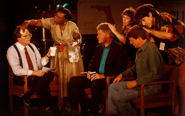 Larry King, Bill Clinton, and Al Gore preparing for a television interview, 1992. (Photo by David Burnett/Contact Press Images)