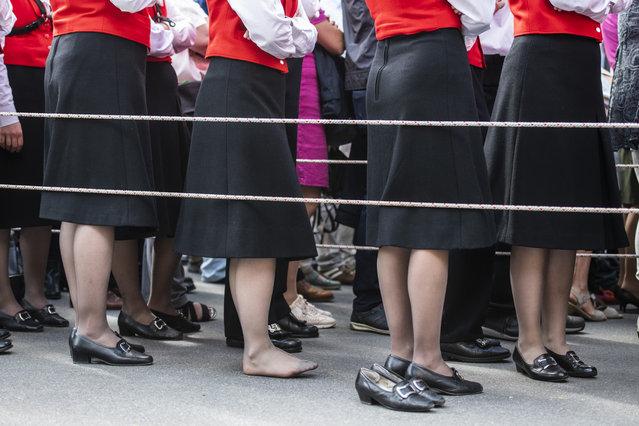 Teilnehmerinnen an der Appenzeller Landsgemeinde, Frauen im Ring, am Sonntag, 29. April 2018, in Appenzell, Switzerland. (Photo by Patrick Huerlimann/Keystone)