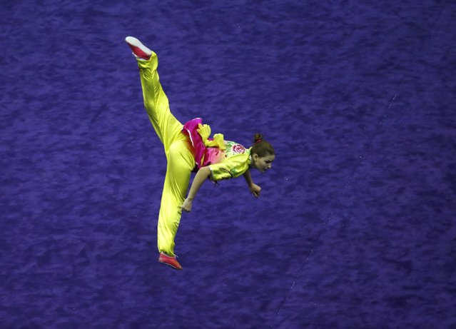 Ukraine's Liudmyla Temna competes in the women's compulsory changquan final during the 13th World Wushu Championship 2015 at Istora Senayan stadium in Jakarta, November 17, 2015. (Photo by Reuters/Beawiharta)