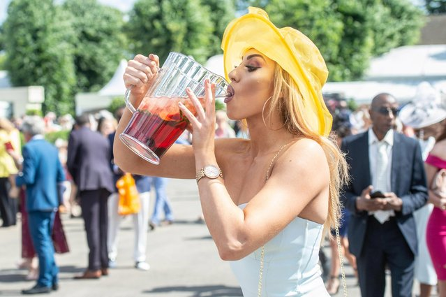 Racegoers in attendance on Ladies Day at Ascot Racecourse on June 21, 2018 in Ascot, England. Ladies Day is the biggest day in the racing calendar and brings with it all the glitz and glamour as those attending don their best outfits. Ascot Racecourse is steeped in Royal history, first founded by Queen Anne in 1711, with the first race in her honour held on August 11, 1711. This year's Royal Ascot began Tuesday, June 19, with races every day until Saturday, June 23. (Photo by South West News Service)