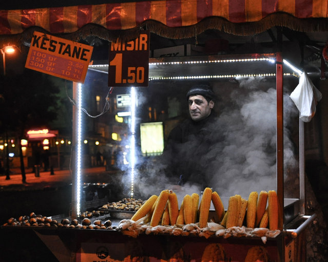 """Late Night Snack"". Corn stand open late in Istanbul, Turkey. (Photo and caption by Hilary Schleier/National Geographic Traveler Photo Contest)"