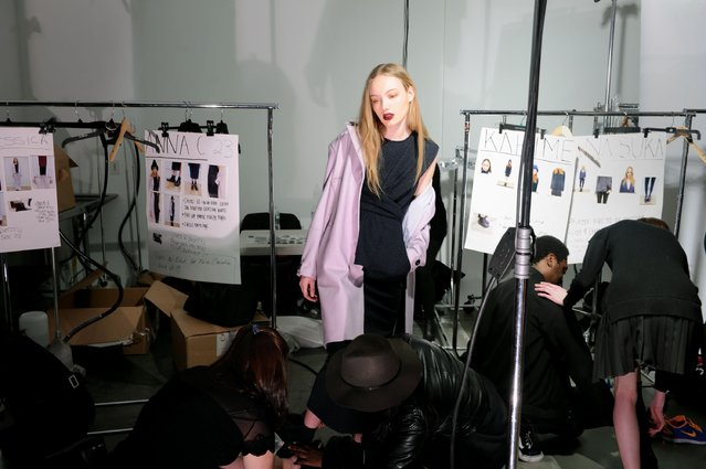 A model poses backstage at the Timo Weiland Women's fashion show at Pier 59 Studios on February 12, 2015 in New York City. (Photo by Craig Barritt/Getty Images)