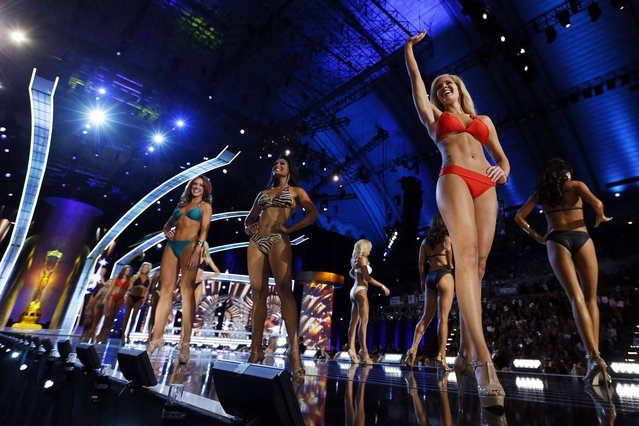Miss America 2014 contestants compete in the bathing suit competition on Sunday. (Photo by Lucas Jackson/Reuters)