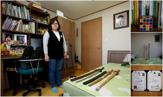 "A combination picture shows Kim Youn-sil, mother of Jeong Cha-woong, a high school student who died in the Sewol ferry disaster, as she poses for a photograph in her son's room, as well as details of objects, in Ansan April 8, 2015. Kim said: ""I feel so sorry for Cha-woong and miss him so much. Those children who stayed calm in the ferry at the last moment and worried for us were better than us. I don't have confidence in my country any more. I want to move abroad, if my oldest child feels okay with it"". (Photo by Kim Hong-Ji/Reuters)"