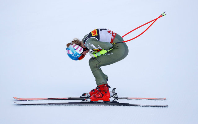 US' Mikaela Shiffrin reacts as she arrives in the finish area during women's Super G event of the 2019 FIS Alpine Ski World Championships at the National Arena in Are, Sweden, on February 5, 2019. (Photo by Leonhard Foeger/Reuters)