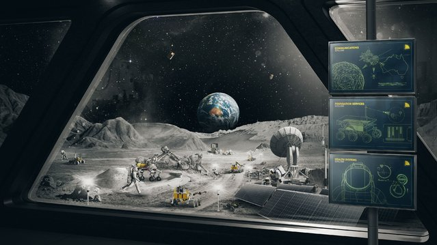 In this undated image released by the Australian Space Agency, an imagined scene on the moon is depicted. Australia has agreed to build a 20-kilogram (44-pound) semi-autonomous lunar rover for NASA to take to the moon as early as 2026 in search of oxygen, the Australian government said on Wednesday, October 13, 2021. (Photo by Australian Space Agency via AP Photo)