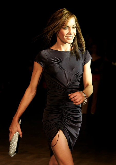 """Model Tara Palmer-Tomkinson wears a creation by Philip Treacy at his Autumn/Winter 2006 show during London Fashion Week in London, Britain February 16, 2006. Palmer-Tomkinson,has been found dead in her London home. She was 45. Prince Charles said in a statement Wednesday, February 8, 2017, that he and his wife, the Duchess of Cornwall, are """"deeply saddened"""" by news of her death. The cause of death was not immediately clear, though she revealed last year that she had been diagnosed with a brain tumor. (Photo by Mike Finn-Kelcey/Reuters)"""