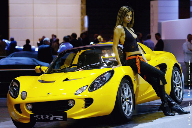 A model shows of the new Lotus elite the Sunday Times Motor Show Live