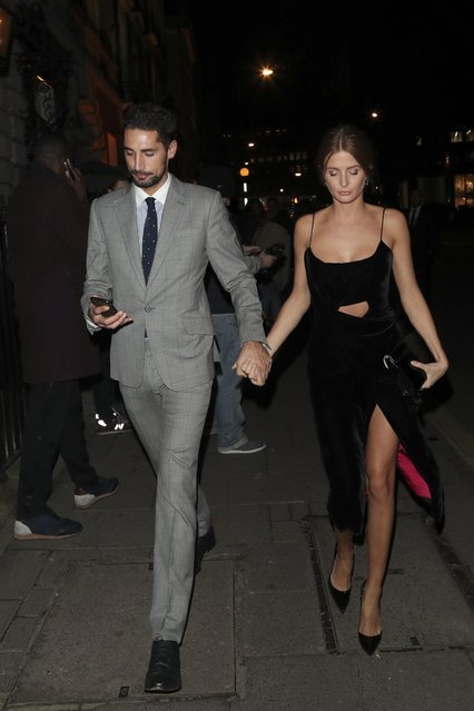 Millie Mackintosh and Hugo Taylor arrives at Love and Burberry party in London, Britain, February 20, 2017. (Photo by Fame Flynet)