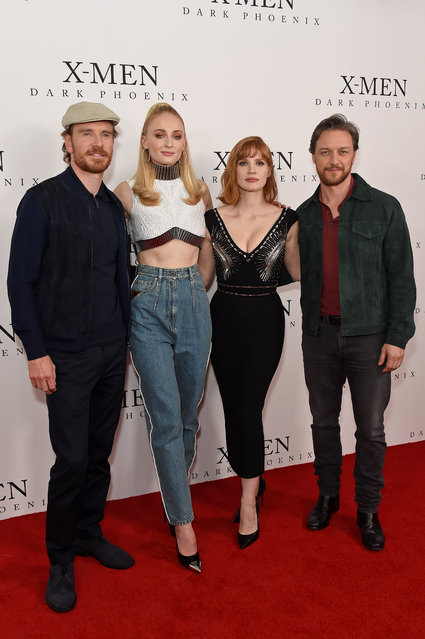 """(L-R) Michael Fassbender, Sophie Turner, Jessica Chastain and James McAvoy attend an exclusive fan event photocall for """"X-Men: Dark Phoenix"""" at the Picturehouse Central on May 22, 2019 in London, England. (Photo by David M. Benett/Dave Benett/WireImage)"""