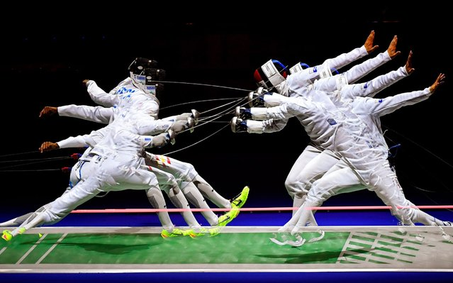 An image taken with a slow shutter speed of Yulen Pereira (L) of Spain and Flavio Giannotte (R) of Luxemburg in action during the men's individual epee preliminary round of the Fencing European Championships in Duesseldorf, Germany, 17 June 2019. (Photo by Tibor Illyes/EPA/EFE/Rex Features/Shutterstock)