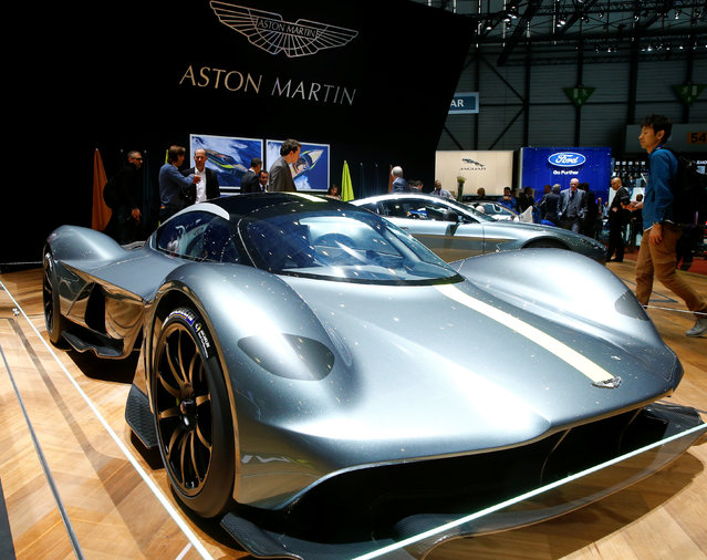 An Aston Martin Valkyrie car is seen during the 87th International Motor Show at Palexpo in Geneva, Switzerland March 8, 2017. (Photo by Arnd Wiegmann/Reuters)