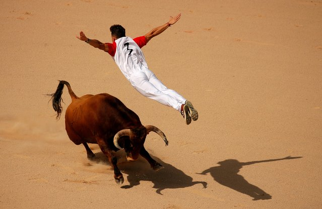 A recortador jumps over a bull during a contest in a bullring at the San Fermin festival in Pamplona, Spain, July 13, 2019. (Photo by Jon Nazca/Reuters)