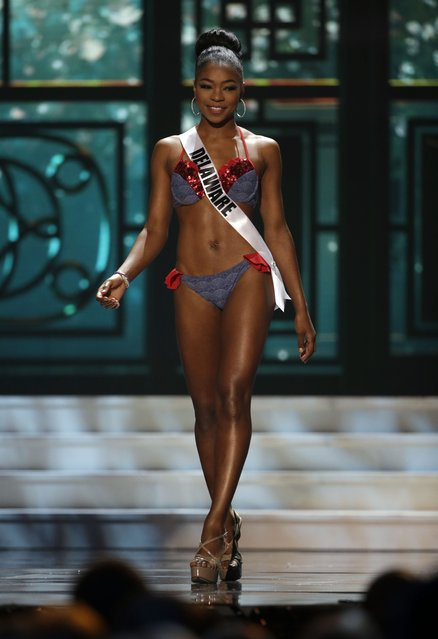 Miss Delaware, Renee Bull, competes in the swimsuit competition during the preliminary round of the 2015 Miss USA Pageant in Baton Rouge, La., Wednesday, July 8, 2015. (Photo by Gerald Herbert/AP Photo)