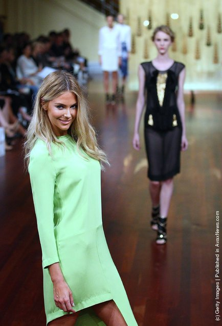 Model Jennifer Hawkins showcases designs by Magdalena Velevska on the catwalk at the Myer A/W 2012 Collection Launch