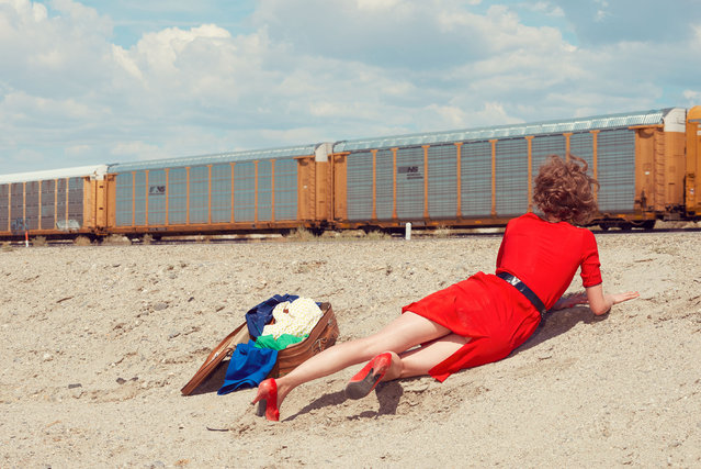 "Kourtney Roy makes eerie self-portraits in desolate yet dramatic locations – with wigs and wardrobe straight out of 1950s melodrama. In these shots, from her ""Enter as Fiction – California"" series, she plays characters caught in desolate, often abandoned settings. (Photo by Kourtney Roy/Galerie Catherine et André Hug/The Guardian)"