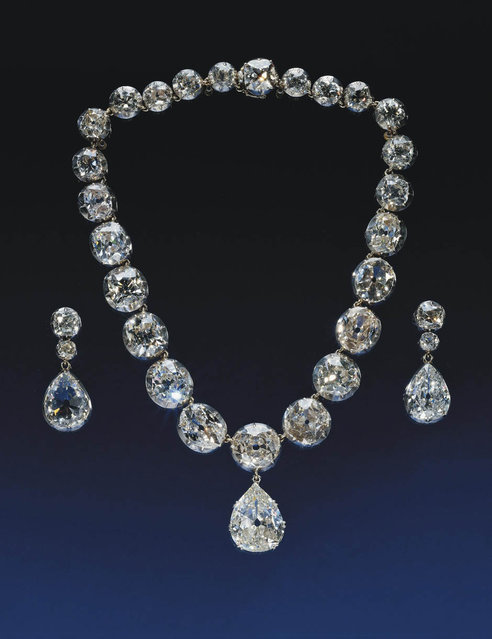 Coronation Necklace and Earrings, part of a exhibition of royal gems being staged to mark the Queen's 60-year reign at the Queen's gallery, Buckingham, Palace, London