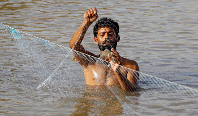 A man gets a fish out of his fishing net in a small pond in Islamabad, Pakistan June 14, 2016. (Photo by Caren Firouz/Reuters)