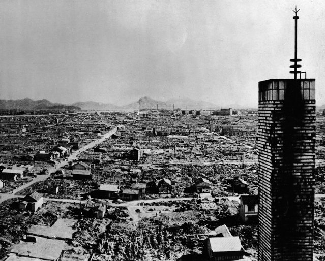 High-angle view of a section of the city of Hiroshima after the US atomic bombing on August 6, 1945. (Photo by Keystone/Getty Images)