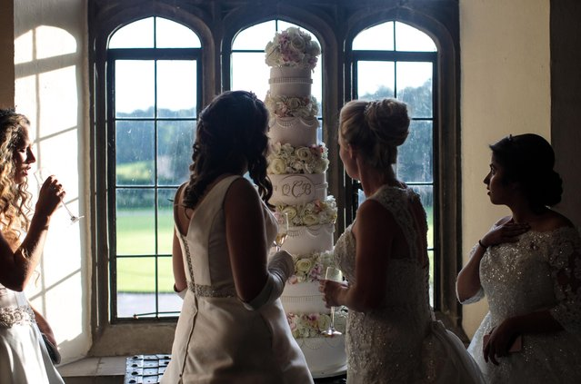 Debutantes drink champagne and look at the cake on display at Leeds Castle during the Queen Charlotte's Ball on September 9, 2017 in Maidstone, England. (Photo by Jack Taylor/Getty Images)