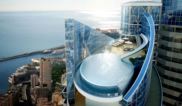 The five-story Sky Penthouse is expected to be complete in September 2015. The water slide extends from a dance floor in the residence down to a private infinity pool. (Photo by Tour Odeon)