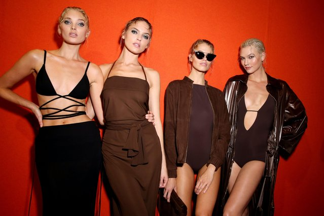 Elsa Hosk, Martha Hunt, Karlie Kloss and a model are seen backstage ahead of the Alberta Ferretti show during Milan Fashion Week Spring/Summer 2018 on September 20, 2017 in Milan, Italy. (Photo by WWD/Rex Features/Shutterstock)