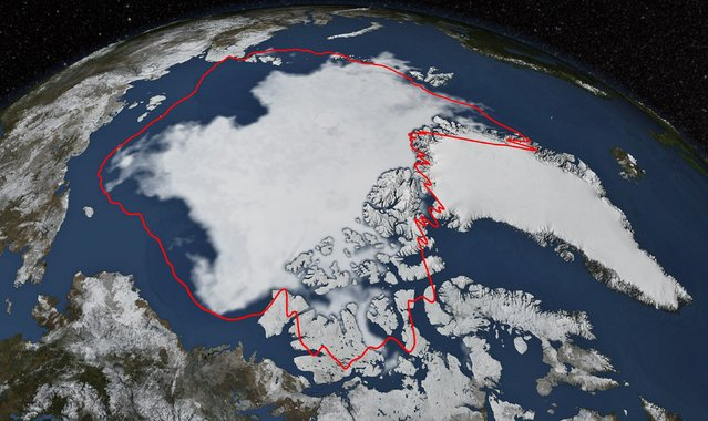 Arctic sea ice hits its annual minimum as seen in this satellite picture provided by the Japan Aerospace Exploration Agency GCOM-W1 satellite and NASA taken September 17, and released September 22, 2014. (Photo by Reuters/NASA/Goddard Scientific Visualization Studio)