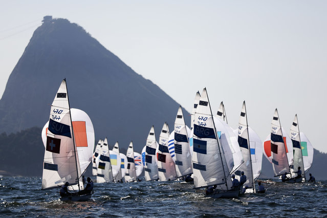 The Men's 470 class competes on Day 9 of the Rio 2016 Olympic Games at the Marina da Gloria on August 14, 2016 in Rio de Janeiro, Brazil. (Photo by Clive Mason/Getty Images)