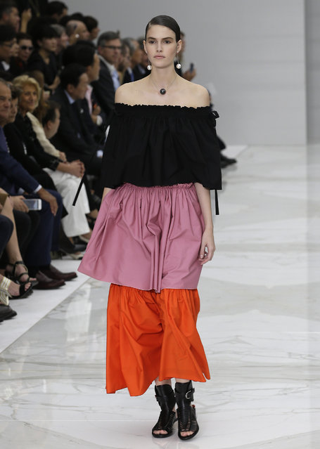 A model wears a creation for Salvatore Ferragamo women's Spring-Summer 2016 collection, part of the Milan Fashion Week, unveiled in Milan, Italy, Sunday, September 27, 2015. (Photo by Antonio Calanni/AP Photo)