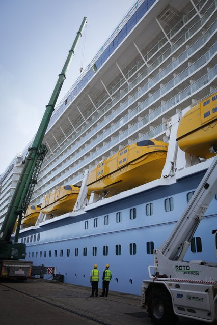 Supplies are loaded onto the cruise ship Quantum of the Seas which is currently docked at Southampton on October 31, 2014 in Southampton, England. (Photo by Matt Cardy/Getty Images)